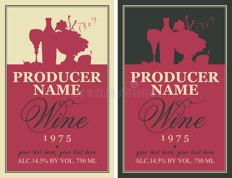 Etiqueta del vino con vida inmóvil libre illustration