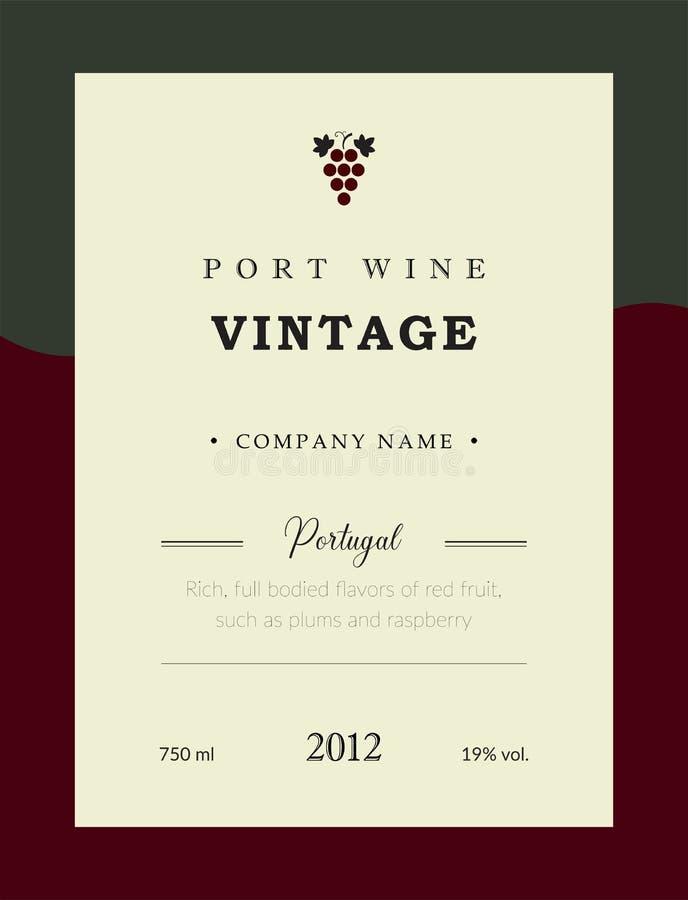 Etiqueta del vino de Oporto Sistema superior de la plantilla del vector Diseño limpio y moderno Vino rojo del vintage Vino portug ilustración del vector