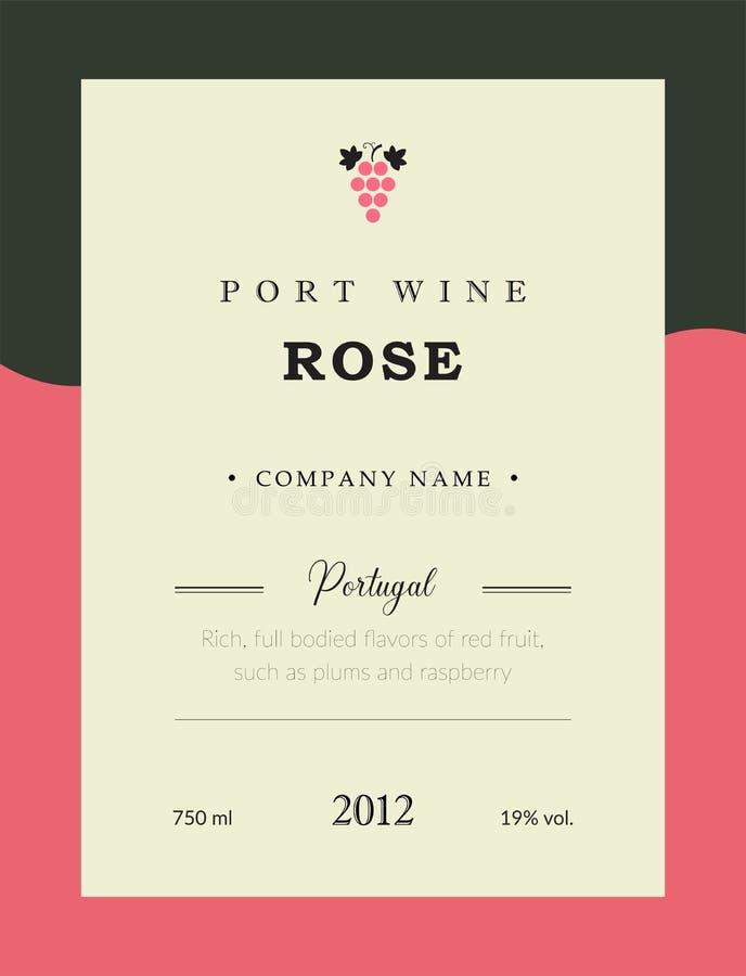 Etiqueta del vino de Oporto Sistema superior de la plantilla del vector Diseño limpio y moderno Rose y vino rojo Vino portugués n stock de ilustración