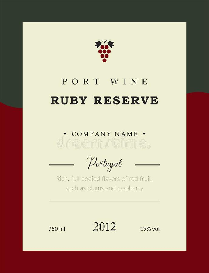Etiqueta del vino de Oporto Sistema superior de la plantilla del vector Diseño limpio y moderno Ruby Reserve y vino rojo Portugué stock de ilustración
