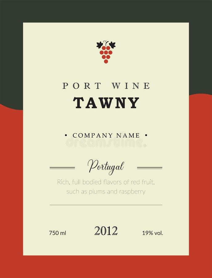Etiqueta del vino de Oporto Sistema superior de la plantilla del vector Diseño limpio y moderno Towny y vino rojo Vino portugués  ilustración del vector