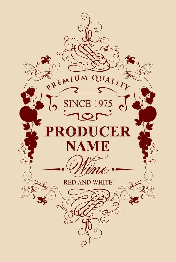 Etiqueta del vino del vintage con el ornamento floral y de la fruta stock de ilustración
