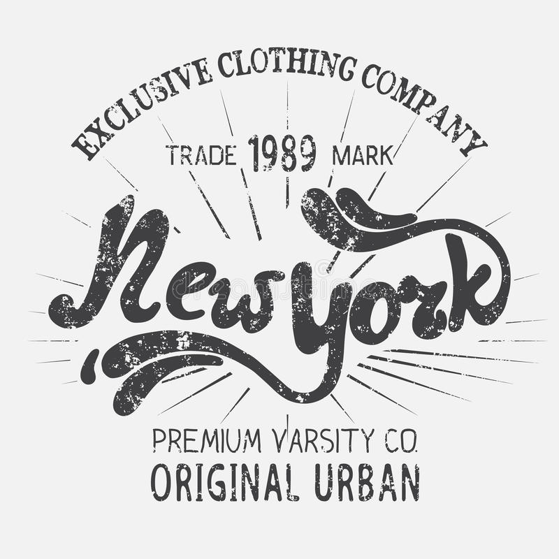 Etiqueta del vintage con el diseño de New York City stock de ilustración