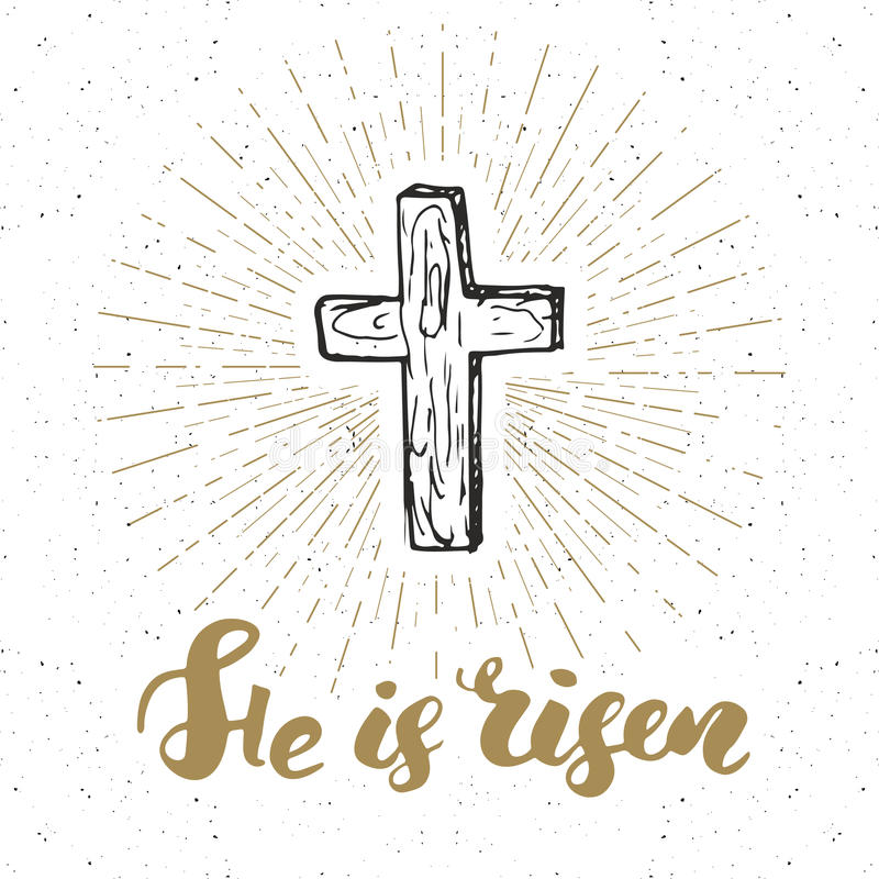 Etiqueta del vintage, cruz cristiana dibujada mano con las letras religiosas de la muestra lo suben, insignia retra texturizada g libre illustration