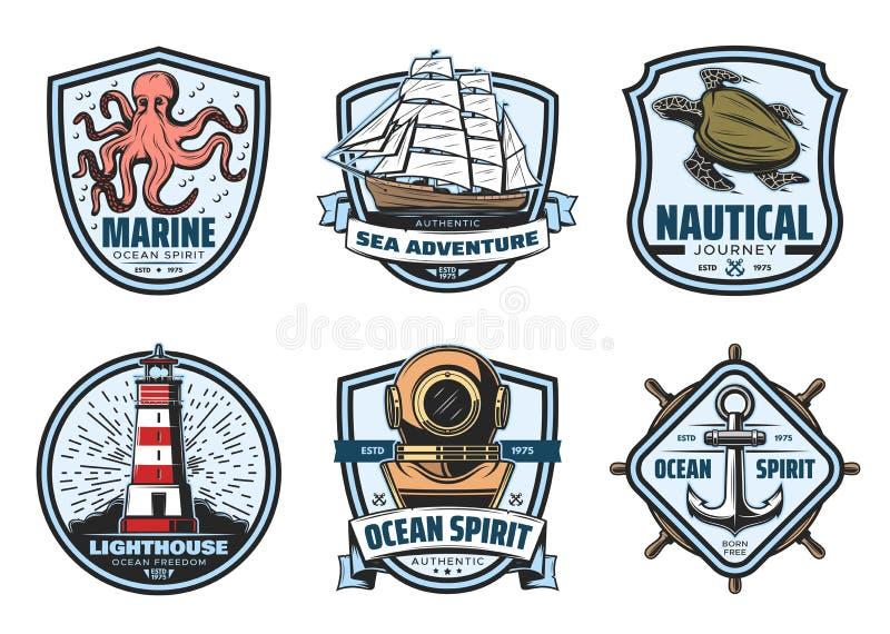 Etiqueta del vintage de la aventura del mar para la heráldica náutica libre illustration
