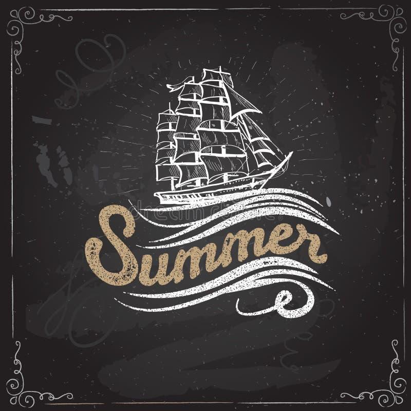 Etiqueta del vintage de la pizarra con letras de la nave y de la mano Los dibujos de la tinta son dos diversas capas stock de ilustración