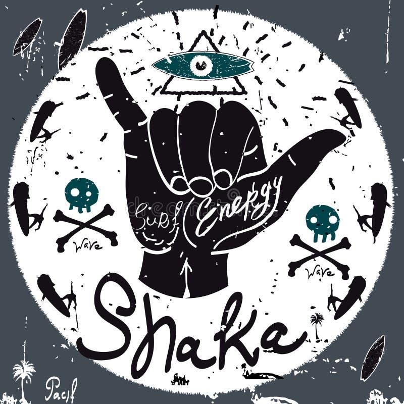 Etiqueta del vintage, Shaka Style Elementos del vector de la tipografía stock de ilustración