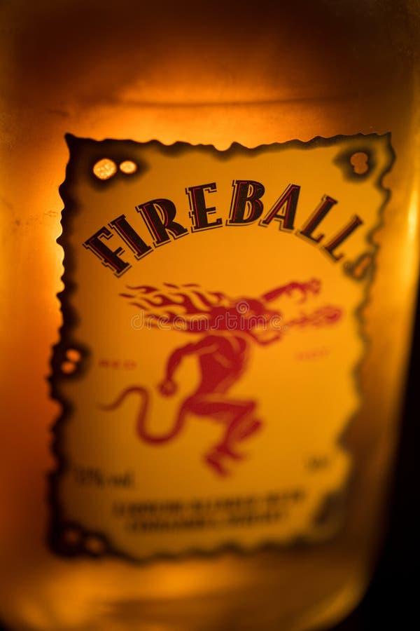 Etiqueta del whisky de la bola de fuego fotografía de archivo