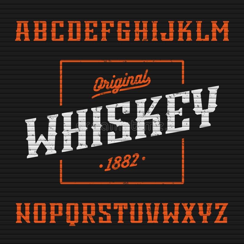 Etiqueta del whisky, fuente occidental del estilo stock de ilustración