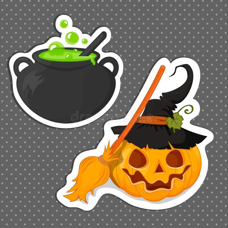 Etiqueta Dia das Bruxas para seu projeto A bruxa e a abóbora da poção com uma vassoura Projeto liso Os símbolos de Halloween ilustração stock