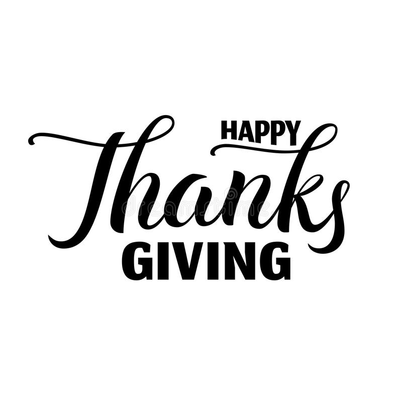 Etiqueta dibujada mano feliz de las letras del día de la acción de gracias libre illustration
