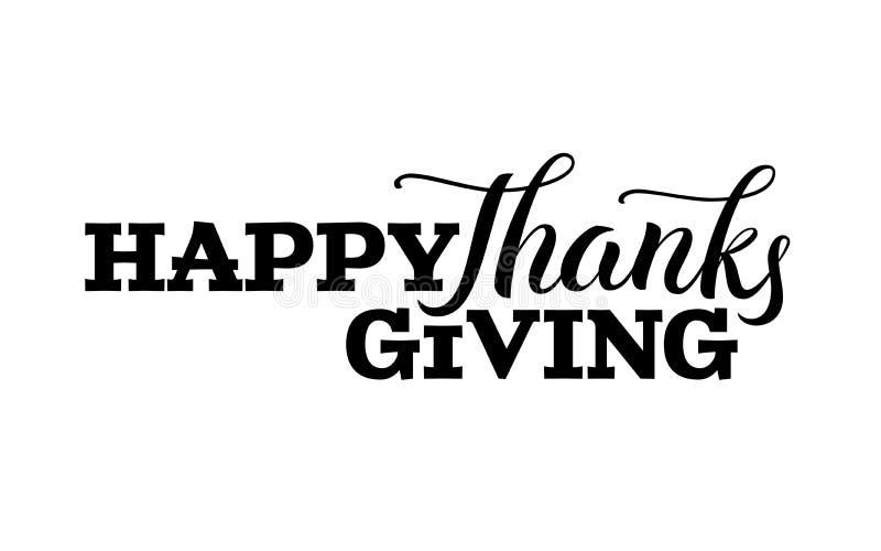 Etiqueta dibujada mano feliz de las letras del día de la acción de gracias en color negro stock de ilustración