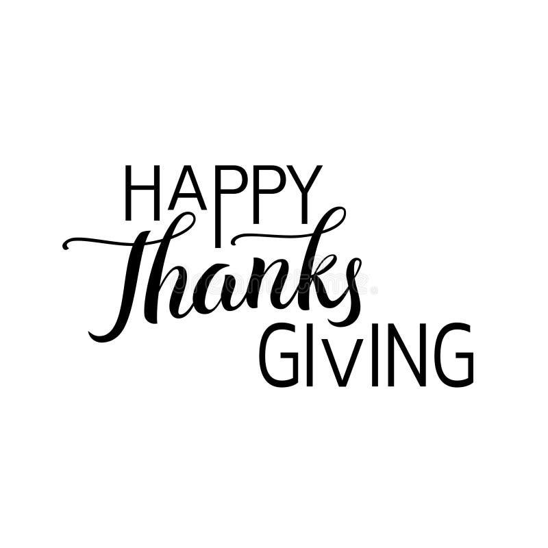 Etiqueta dibujada mano feliz de las letras del día de la acción de gracias en color negro libre illustration