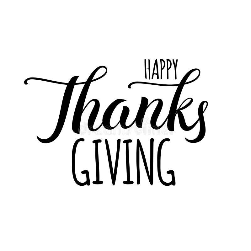 Etiqueta dibujada mano feliz de las letras del día de la acción de gracias en color negro aislada en el fondo blanco, texto de la stock de ilustración
