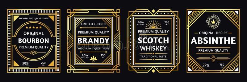 Etiqueta do álcool do art deco Aguardente escocêsa, retro do bourbon do vintage e ilustração do vetor das etiquetas do absinto ilustração royalty free