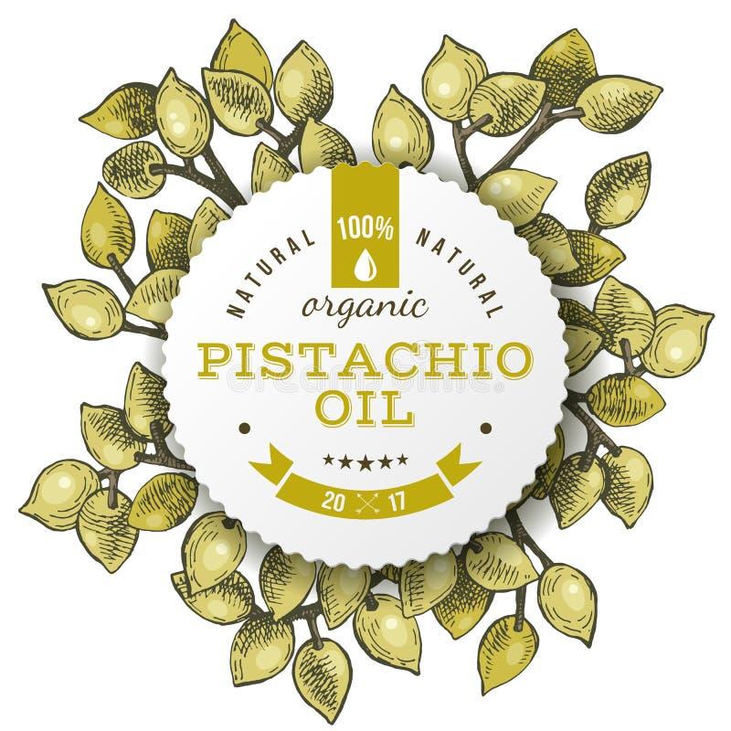 Etiqueta do óleo de Phistachio sobre porcas tiradas mão ilustração stock
