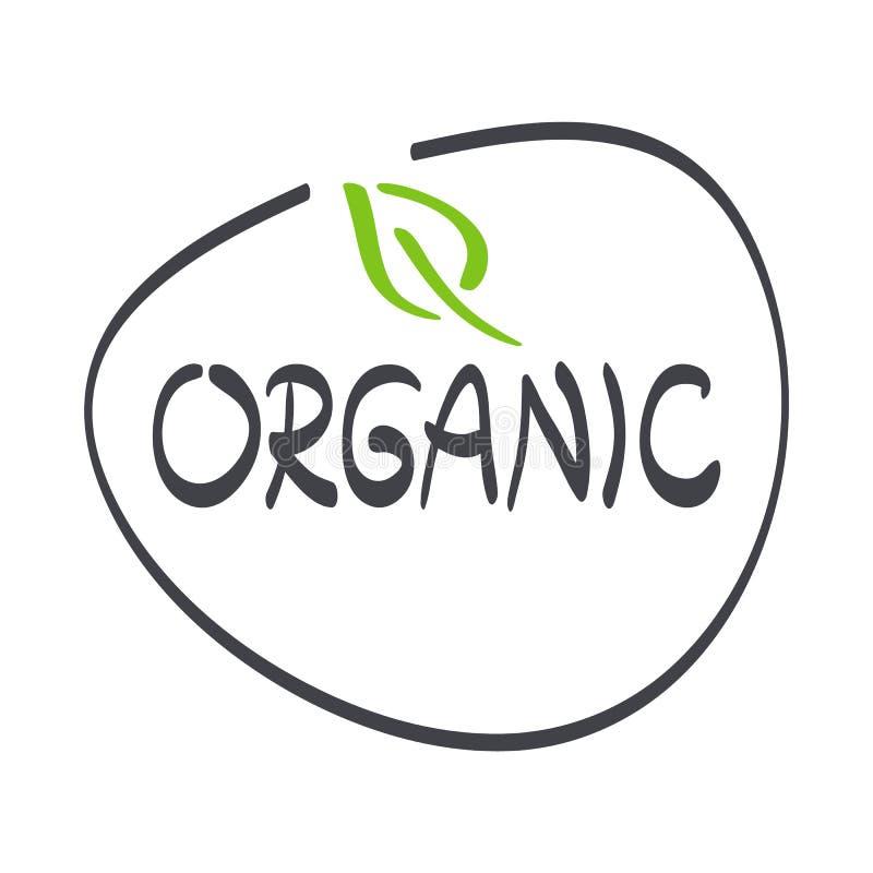 Etiqueta do alimento biológico com folha Logotipo verde e cinzento tirado mão do vetor, sinal Símbolo para comer saudável, saúde, ilustração do vetor
