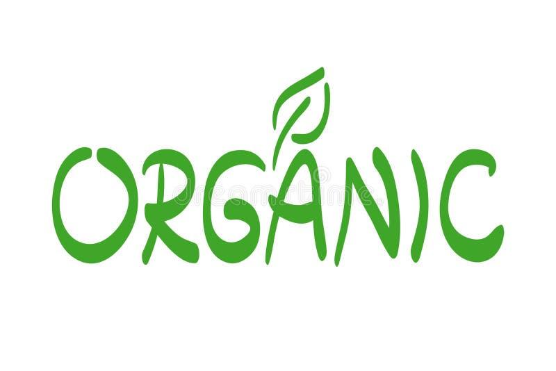 Etiqueta do alimento biológico com folha Logotipo verde tirado mão do vetor, sinal Rotula??o da escova Símbolo para comer saudáve ilustração stock