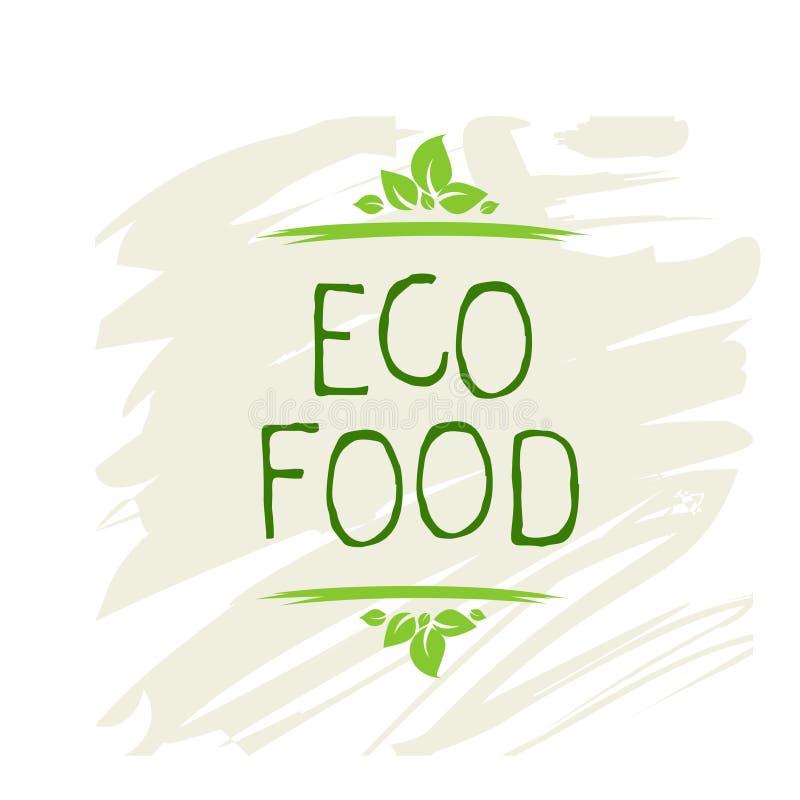 Etiqueta do alimento de Eco e crachás de alta qualidade do produto Bio orgânico saudável, 100 bio e ícone do produto natural Embl ilustração stock