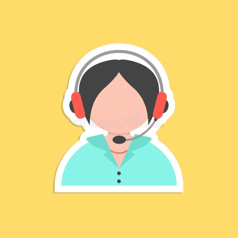 Etiqueta do avatar do centro de atendimento da menina ilustração do vetor