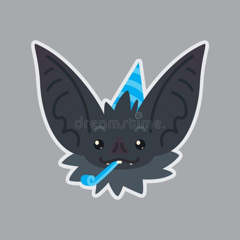 Etiqueta do bastão Emoji A ilustração do vetor do vampiro bonito do bastão de Dia das Bruxas mostra a emoção do feriado comemoraç ilustração royalty free