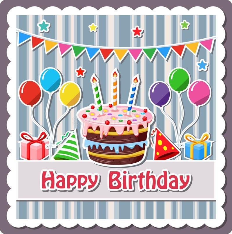 Etiqueta do bolo de aniversário ilustração do vetor