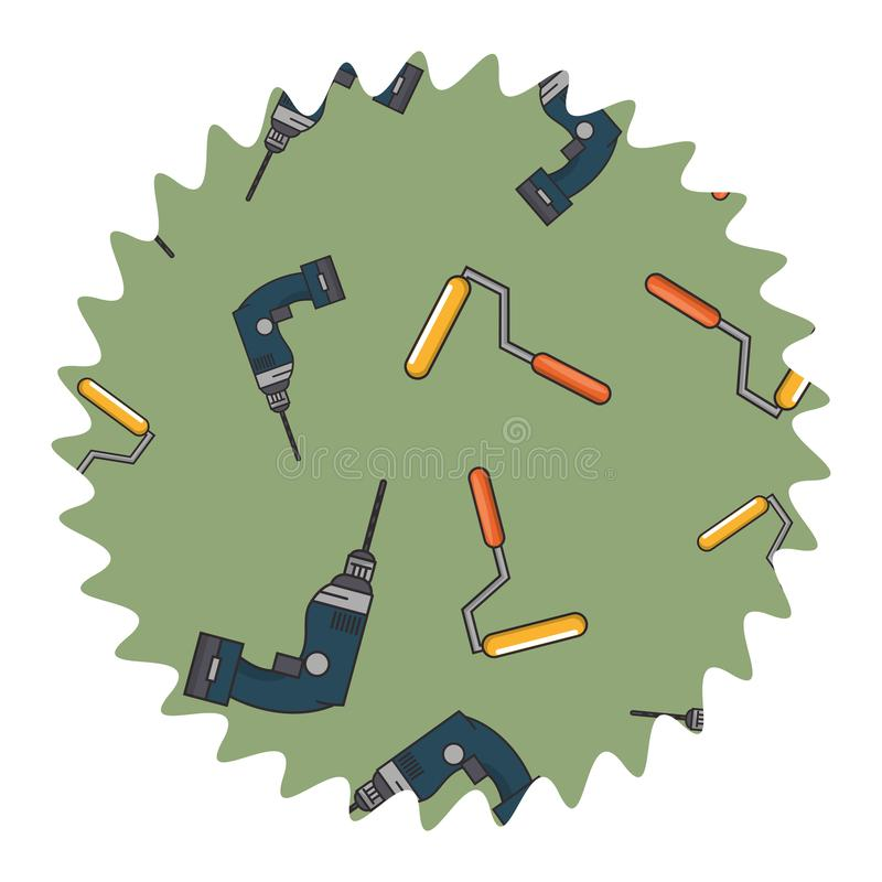 Etiqueta do círculo da pintura da broca e do rolo ilustração stock