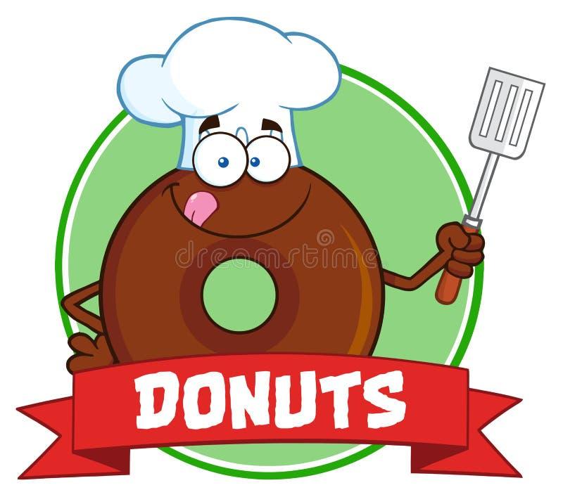 Etiqueta do círculo de Donut Cartoon Character do cozinheiro chefe do chocolate com texto ilustração stock