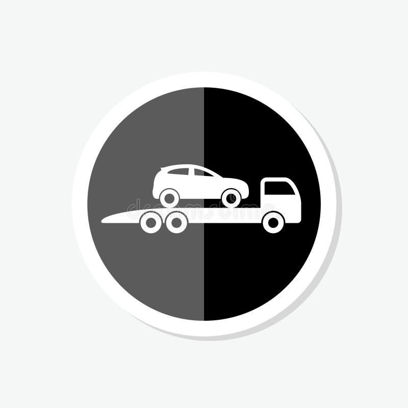 Etiqueta do caminhão de reboque isolada no fundo branco Símbolo na moda e moderno do ícone do caminhão de reboque de reboque do c ilustração stock