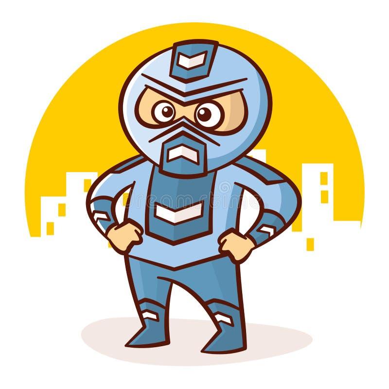 Etiqueta do caráter do menino do super-herói dos desenhos animados ilustração stock