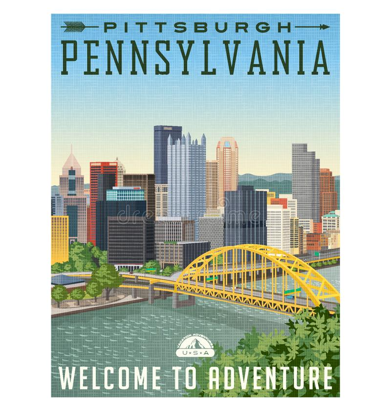 Etiqueta do cartaz ou da bagagem do curso de Pittsburgh Pensilvânia ilustração stock