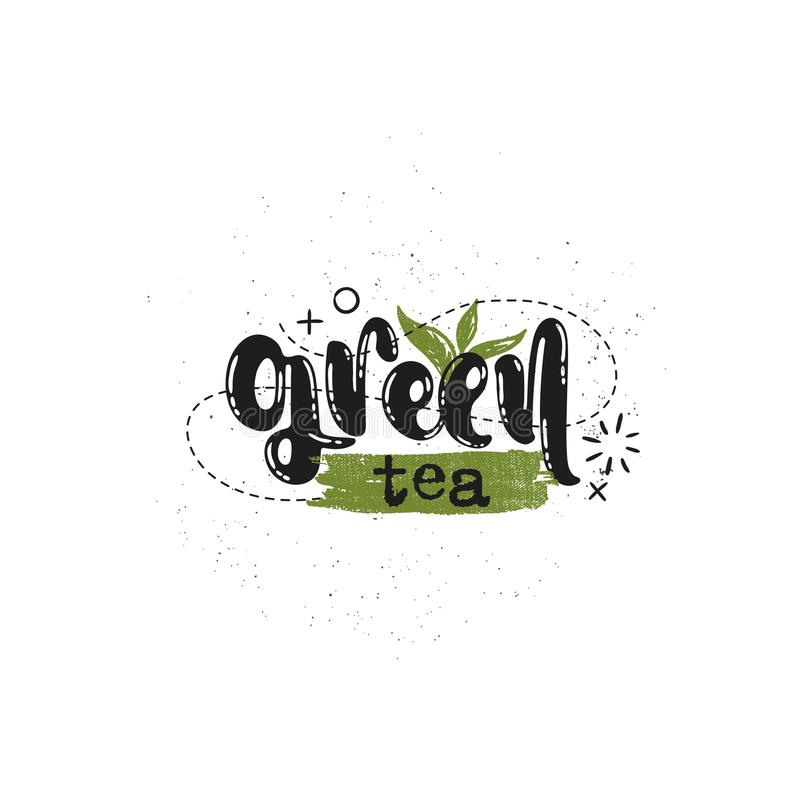 Etiqueta do chá verde ilustração do vetor