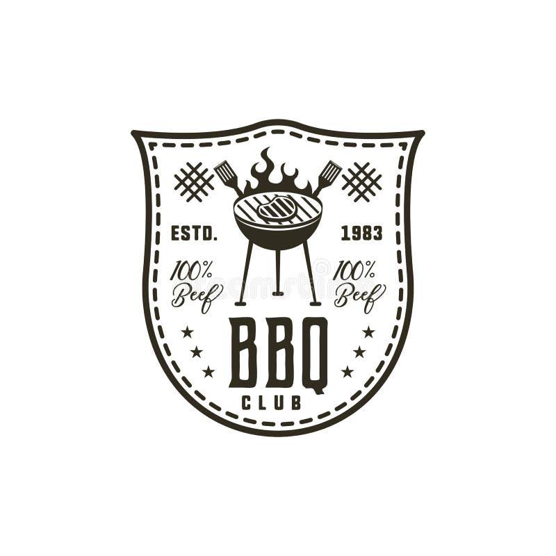 Etiqueta do clube do BBQ no estilo monocromático Convite grelhar, para assar o evento Isolado no fundo branco Preto do vintage ilustração do vetor