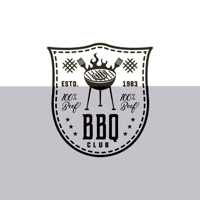 Etiqueta do clube do BBQ no estilo monocromático Convite grelhar, para assar o evento Isolado no fundo branco Preto do vintage ilustração royalty free