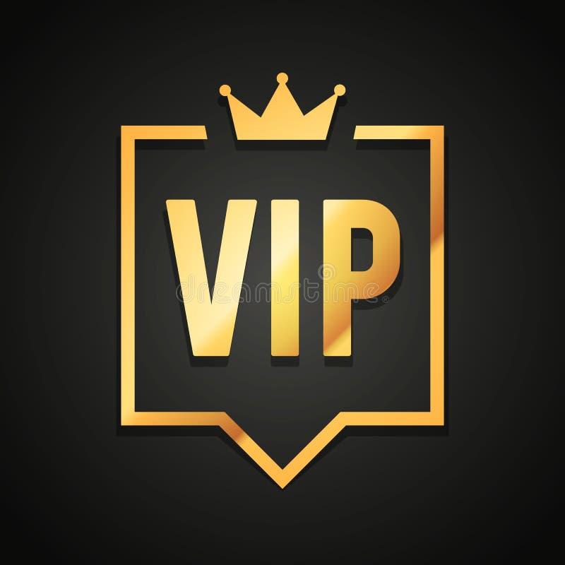 Etiqueta do clube do VIP da ilustração do vetor no fundo preto com a coroa na bolha moderna do discurso ilustração stock