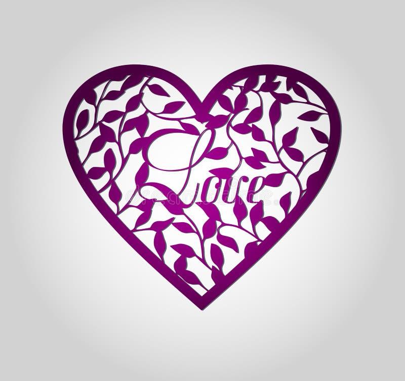 Etiqueta do coração do corte do laser ilustração do vetor