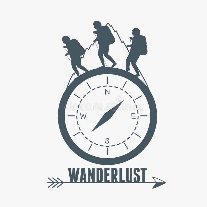 Etiqueta do desejo por viajar com campass e caminhantes ilustração do vetor