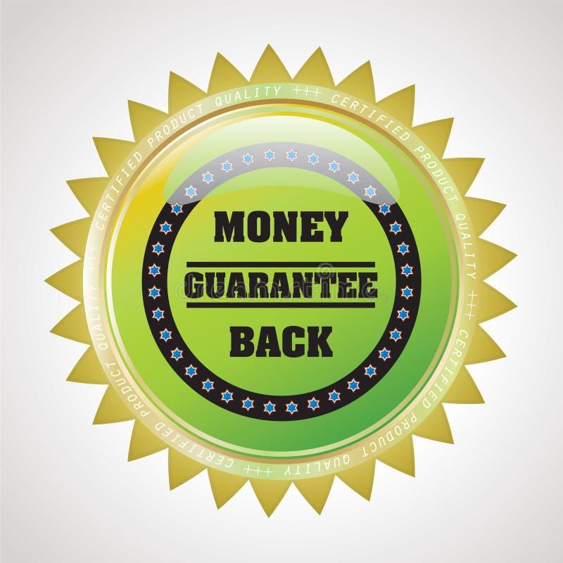 Etiqueta do emblema da garantia - garantia da parte traseira do dinheiro ilustração stock