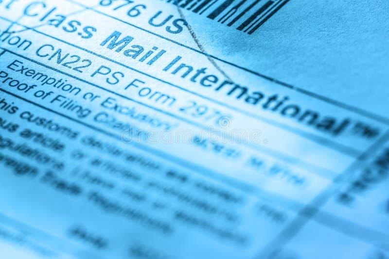 Etiqueta do envelope do cargo fotos de stock