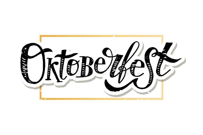 Etiqueta do feriado do texto da escova da caligrafia da rotula??o de Oktoberfest ilustração stock