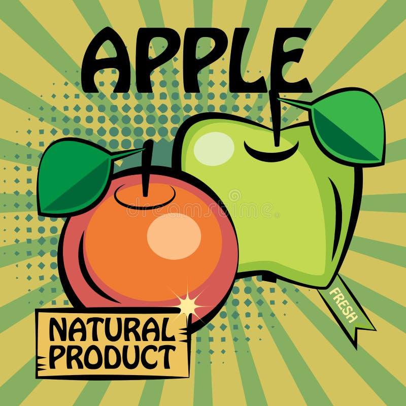 Etiqueta do fruto, Apple ilustração royalty free