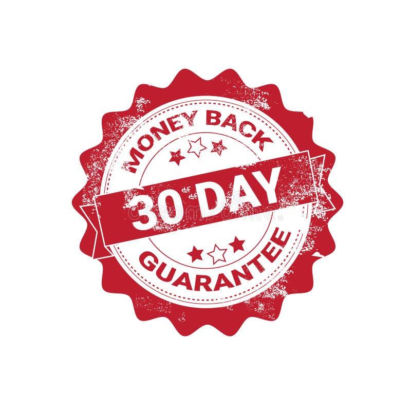 Etiqueta do Grunge do crachá da garantia da parte traseira do dinheiro ou molde vermelho do selo isolado ilustração royalty free