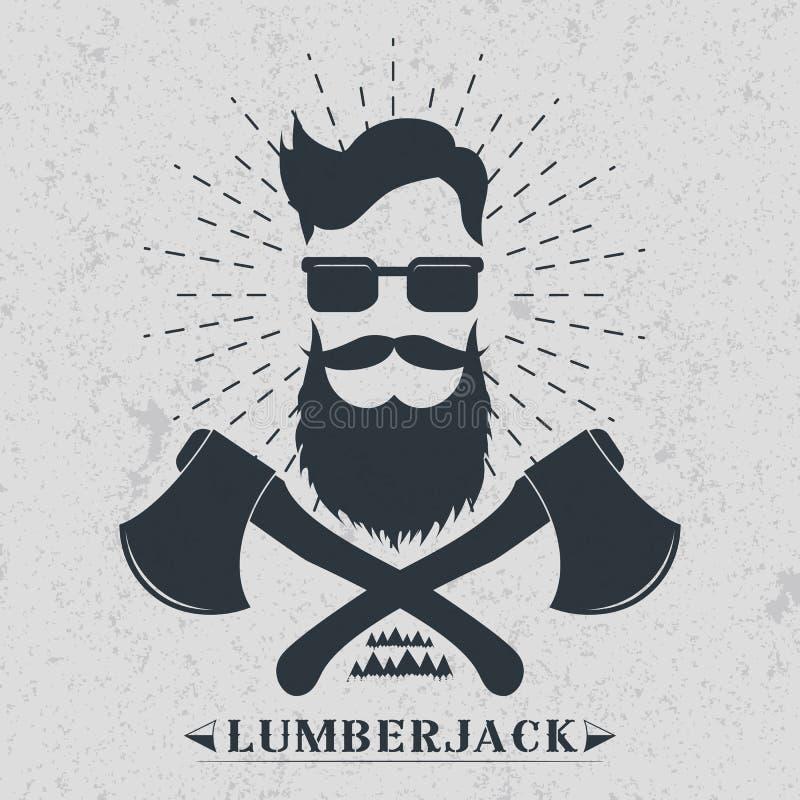 Etiqueta do lenhador, logotipo, ilustração do vetor do projeto do t-shirt ilustração royalty free