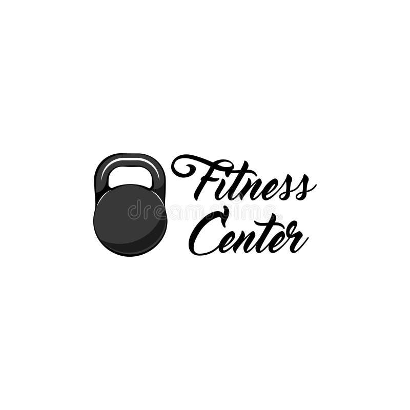 Etiqueta do logotipo do fitness center do ícone de Kettlebell CRACHÁ DO ESPORTE Vetor ilustração royalty free