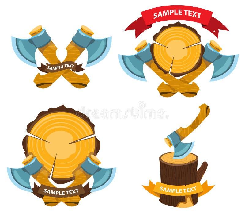 Etiqueta do logotipo do lenhador com machados ilustração royalty free