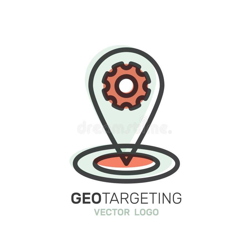 Etiqueta do lugar de Geo, mercado da proximidade, conexão de rede global, identificação do lugar ilustração stock