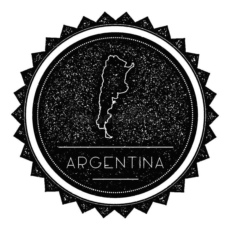 Etiqueta do mapa de Argentina com o vintage retro denominado ilustração stock