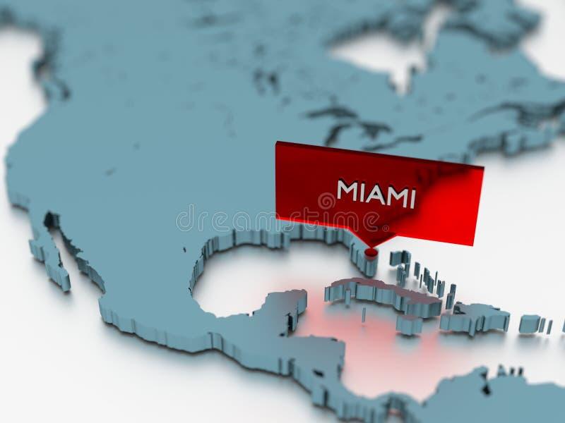 etiqueta do mapa do mundo 3d - cidade de Miami ilustração royalty free