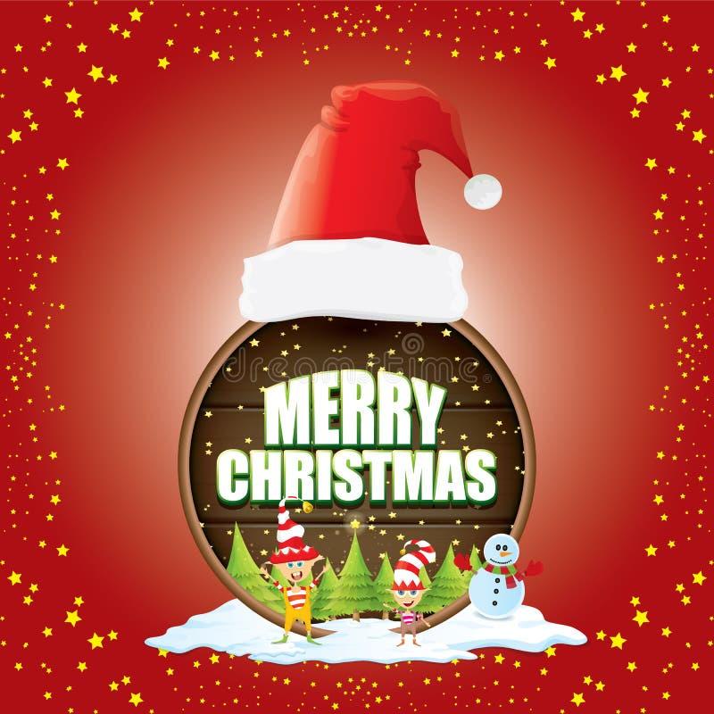 A etiqueta do Natal do vetor com o chapéu vermelho de Santa, a árvore, a neve, o boneco de neve dos desenhos animados, os duendes ilustração stock