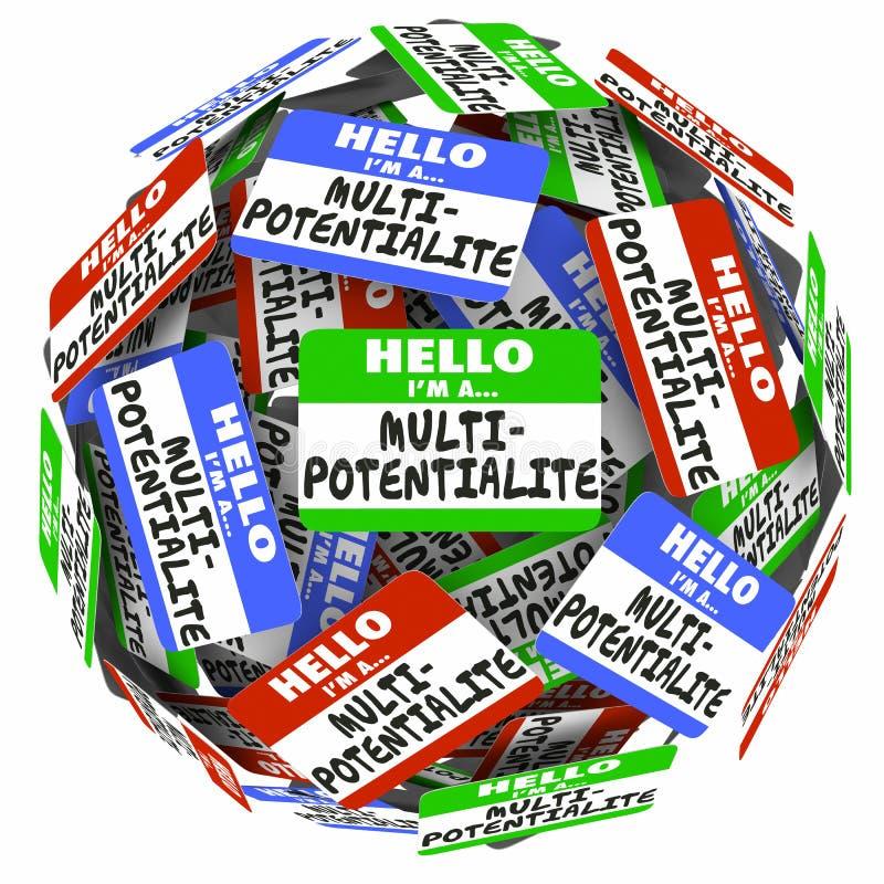 Etiqueta do nome de Multipotentialite olá! muitas carreiras 3d dos trabalhos dos interesses ilustração do vetor